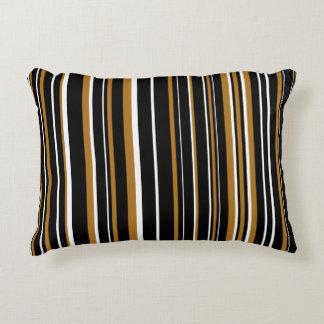 Oro negro, mate adaptable, y raya blanca cojín decorativo