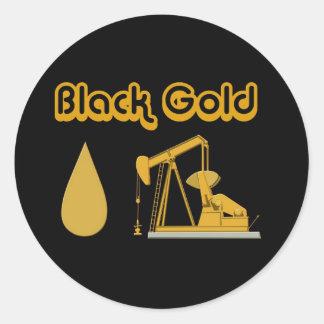 Oro negro pegatina redonda