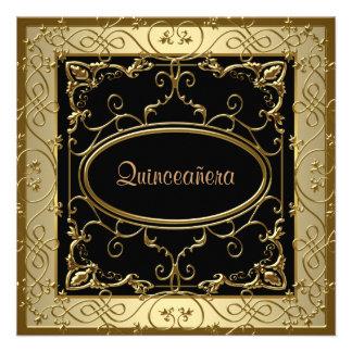 Oro negro Quinceanera Invitaciones Personalizada