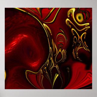 Oro negro rojo 5 del extracto del arte de los