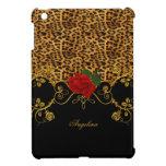Oro negro rojo de los rosas del leopardo iPad mini fundas