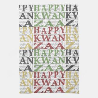 Oro negro verde rojo feliz moderno de Kwanzaa Toallas De Cocina