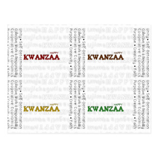 Oro negro verde rojo feliz moderno de Kwanzaa Postal