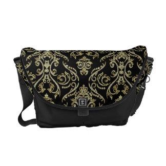 Oro negro y damascos florales del modelo de los di bolsa de mensajeria