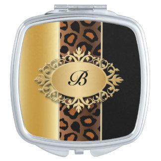 Oro, negro y monograma de la impresión el   de espejos para el bolso