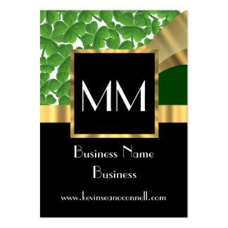 Oro negro y monograma verde tarjetas de visita grandes