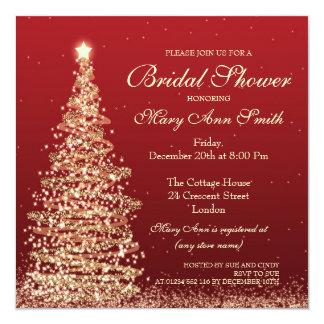 """Oro nupcial del rojo de la ducha del navidad invitación 5.25"""" x 5.25"""""""