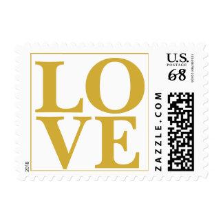 Oro nupcial grande del diseño del amor sello postal