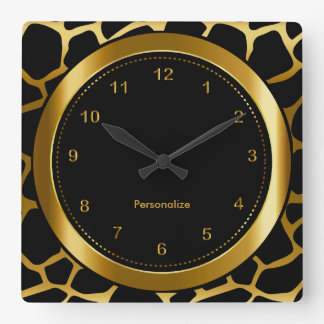 Oro oscuro e impresión negra del modelo de la reloj cuadrado