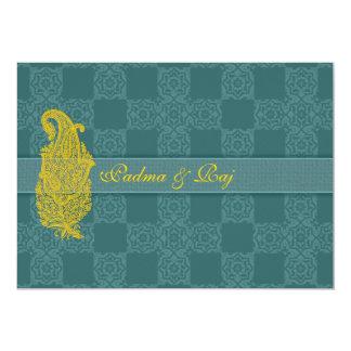 Oro Paisley e invitaciones del boda del trullo Invitación 12,7 X 17,8 Cm