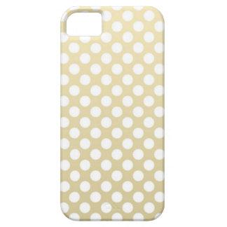 Oro pálido y lunares blancos iPhone 5 cárcasa