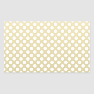 Oro pálido y lunares blancos rectangular pegatina