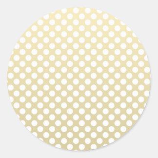 Oro pálido y lunares blancos pegatina redonda
