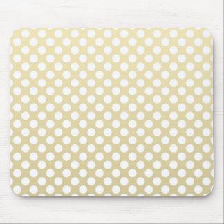 Oro pálido y lunares blancos tapete de ratón