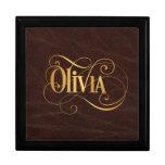 Oro personalizado de Olivia de la escritura de Swi Cajas De Regalo