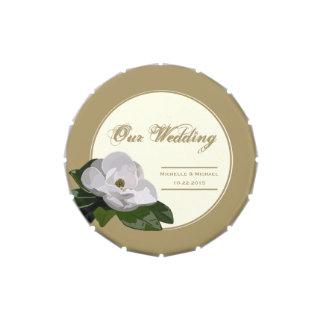 Oro personalizado del favor del boda de la flor de frascos de caramelos