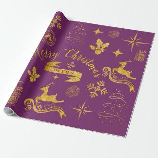 Oro personalizado del vintage y abrigo púrpura del papel de regalo