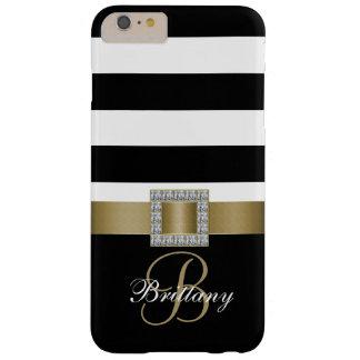 Oro personalizado, diamantes intrépidos negros de funda de iPhone 6 plus barely there