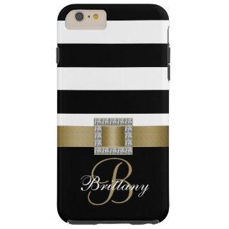 Oro personalizado, diamantes intrépidos negros de funda para iPhone 6 plus tough