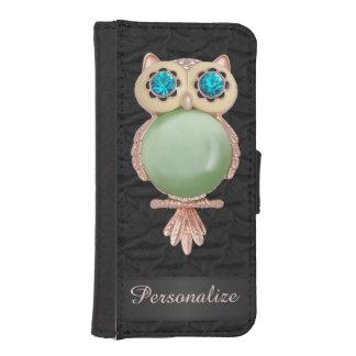Oro personalizado y imagen de seda rizada búho de funda tipo billetera para iPhone 5