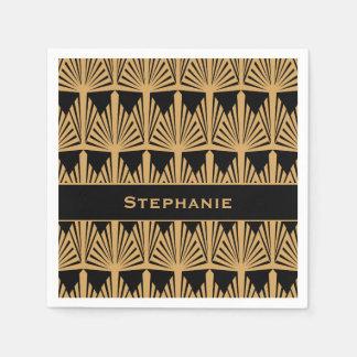 Oro personalizado y modelo negro del art déco servilletas de papel