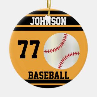 Oro personalizado y negro del béisbol el   adorno navideño redondo de cerámica