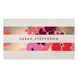 Oro pintado floral colorido de las flores rayado tarjetas de visita