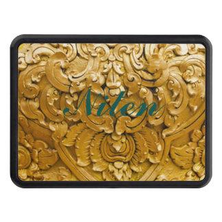 Oro pintado, trabajo de madera antiguo, vintage, tapas de remolque