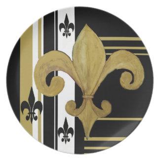 Oro, placa blanco y negro de la flor de lis platos para fiestas