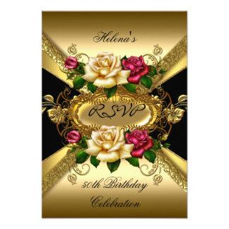Oro poner crema rojo de los rosas de la fiesta de