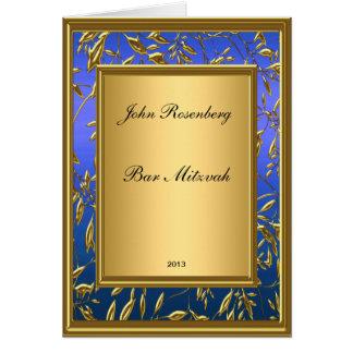 Oro popular e invitación azul de Mitzvah de la bar Tarjetas