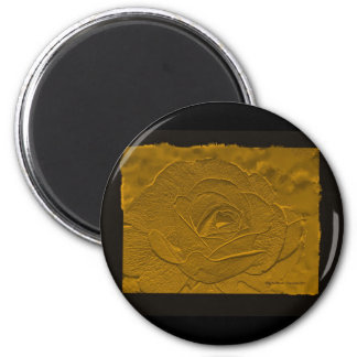 Oro profundo grabado en relieve subió imán redondo 5 cm