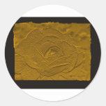 Oro profundo grabado en relieve subió pegatina redonda