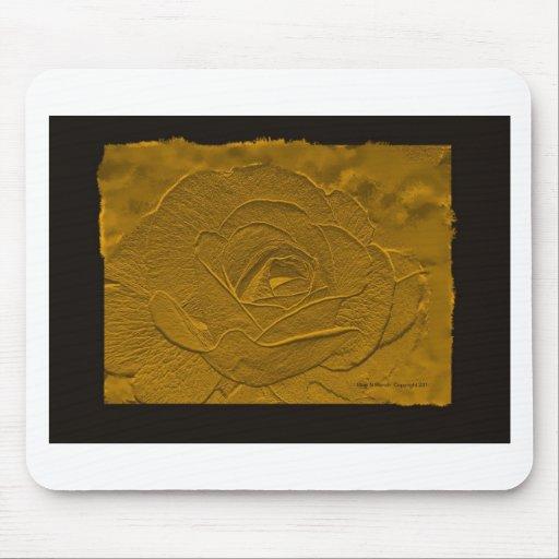 Oro profundo grabado en relieve subió alfombrilla de ratones