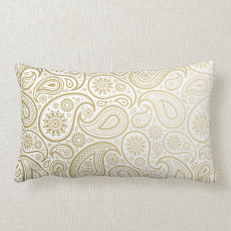 Oro pulimentado Paisleys en la almohada lumbar