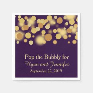 Oro púrpura Bokeh personalizado casando Servilleta Desechable