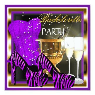 """Oro púrpura de la cebra del corsé del fiesta de invitación 5.25"""" x 5.25"""""""
