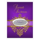 Oro púrpura elegante de la fiesta de cumpleaños invitación 12,7 x 17,8 cm