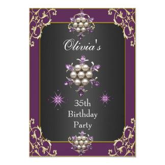 """Oro púrpura elegante del ciruelo del 35to invitación 5"""" x 7"""""""