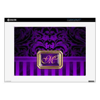 """Oro púrpura lujoso 15"""" del damasco piel del ordena calcomanías para 38,1cm portátiles"""