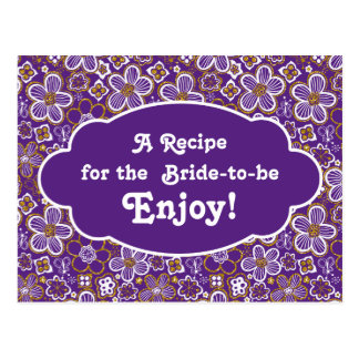 Oro púrpura nupcial de la ducha el | de la tarjeta postales
