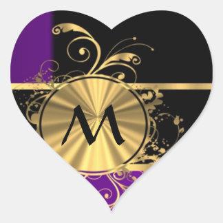 Oro púrpura y monograma negro pegatina en forma de corazón