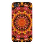 Oro que brilla, joyas rojas ambarinas abstractas iPhone 4/4S funda