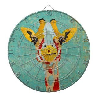 Oro que mira a escondidas el Dartboard de la jiraf Tablero Dardos