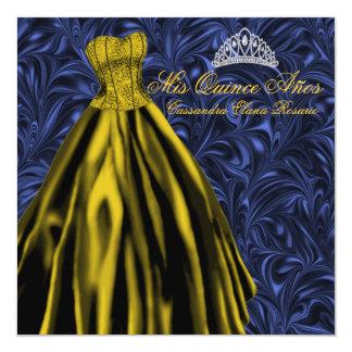 """Oro Quinceanera del azul de vestido del oro de los Invitación 5.25"""" X 5.25"""""""