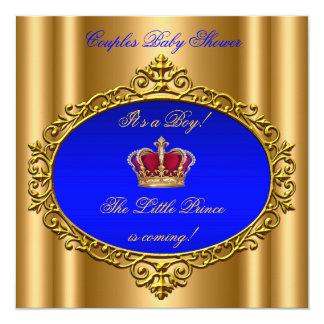 """Oro real de la corona de la fiesta de bienvenida invitación 5.25"""" x 5.25"""""""