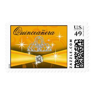 Oro real de la tiara de Quinceanera Bling Timbres Postales