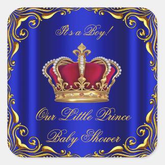 Oro real del pequeño príncipe rojo azul del pegatina cuadrada