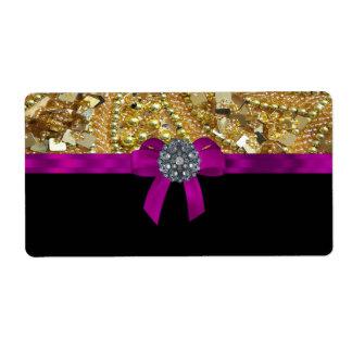 Oro reluciente y negro etiqueta de envío