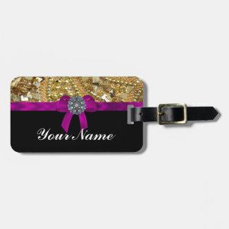 Oro reluciente y negro etiqueta para equipaje